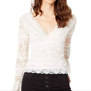 GUESS Jordan Lace Bell-Sleeve Top, Cream White